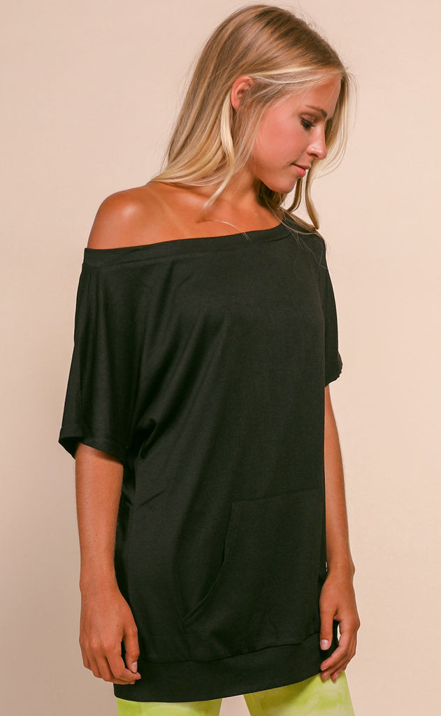 basically perfect one shoulder top - black