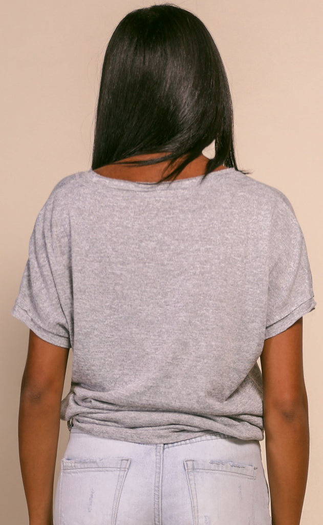 basic is best scoop neck top - grey
