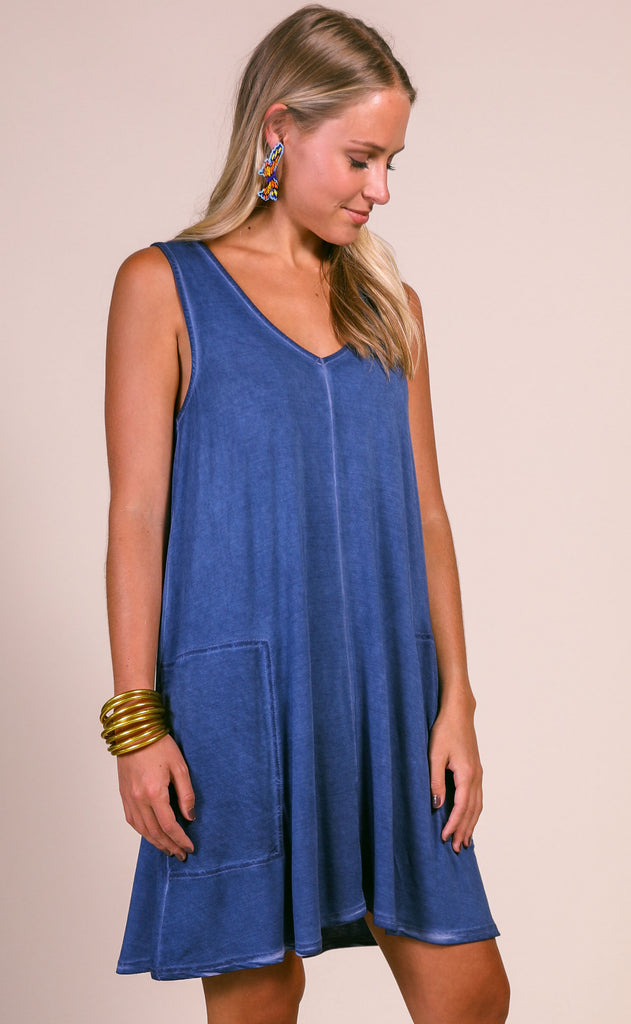 z supply: bay v-neck dress - blue indigo