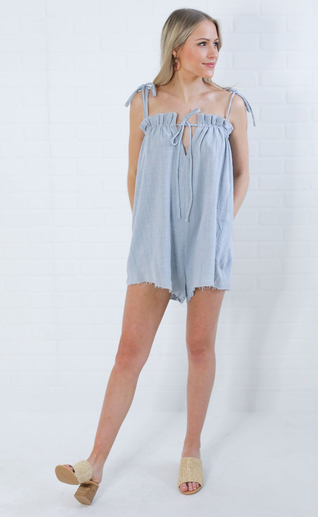 beach bound linen romper - powder blue