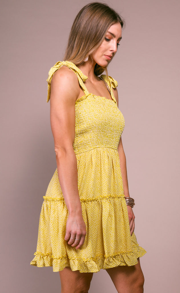 beach day printed dress - yellow