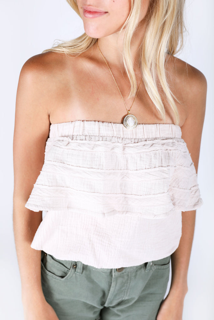 beach vibes strapless top - khaki