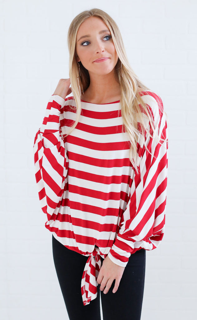 believe it or knot striped top