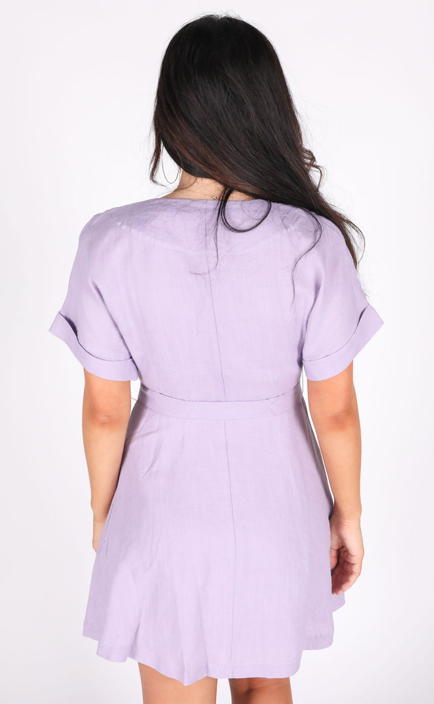 belt it out button up dress - lavender