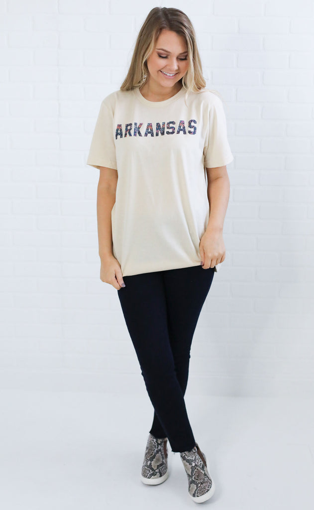 charlie southern: berry floral state t shirt - arkansas
