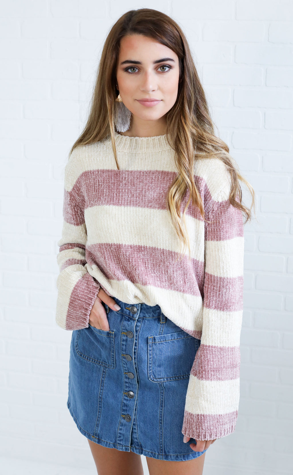 best day ever striped sweater - blush