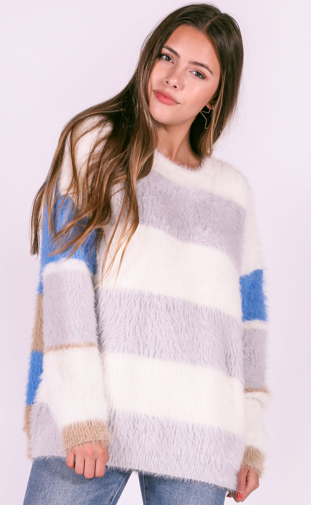best day ever striped sweater - grey
