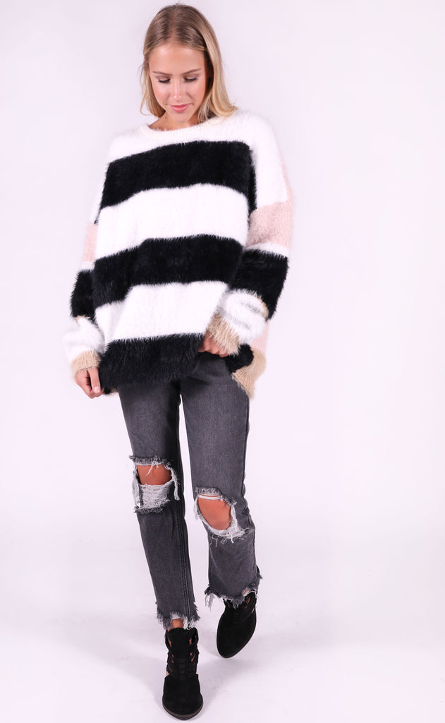 best day ever striped sweater - black