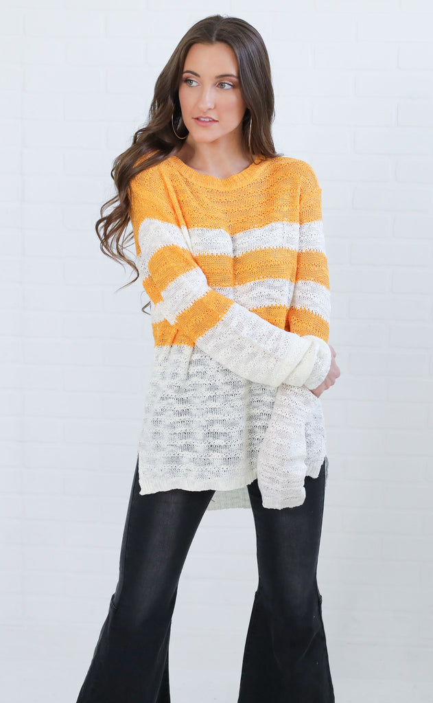 best in class striped sweater - mustard