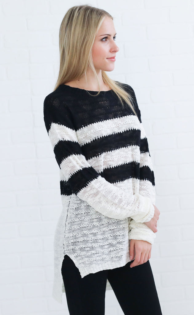 best in class striped sweater - black