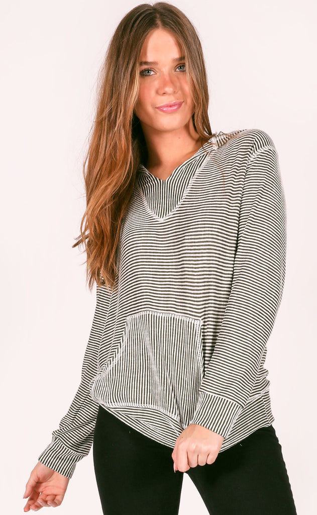 best of the best striped pullover - olive