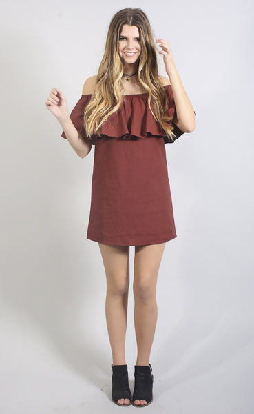 better than the rest off shoulder dress - burgundy