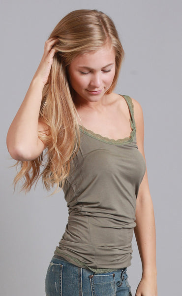better believe it lace tank top - olive