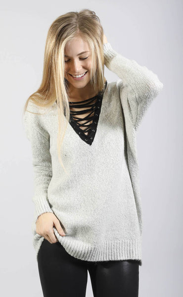 beyond cozy lace up sweater - grey