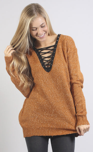 beyond cozy lace up sweater