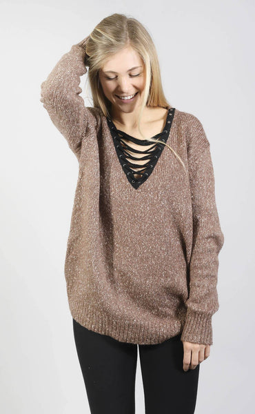 beyond cozy lace up sweater - brown