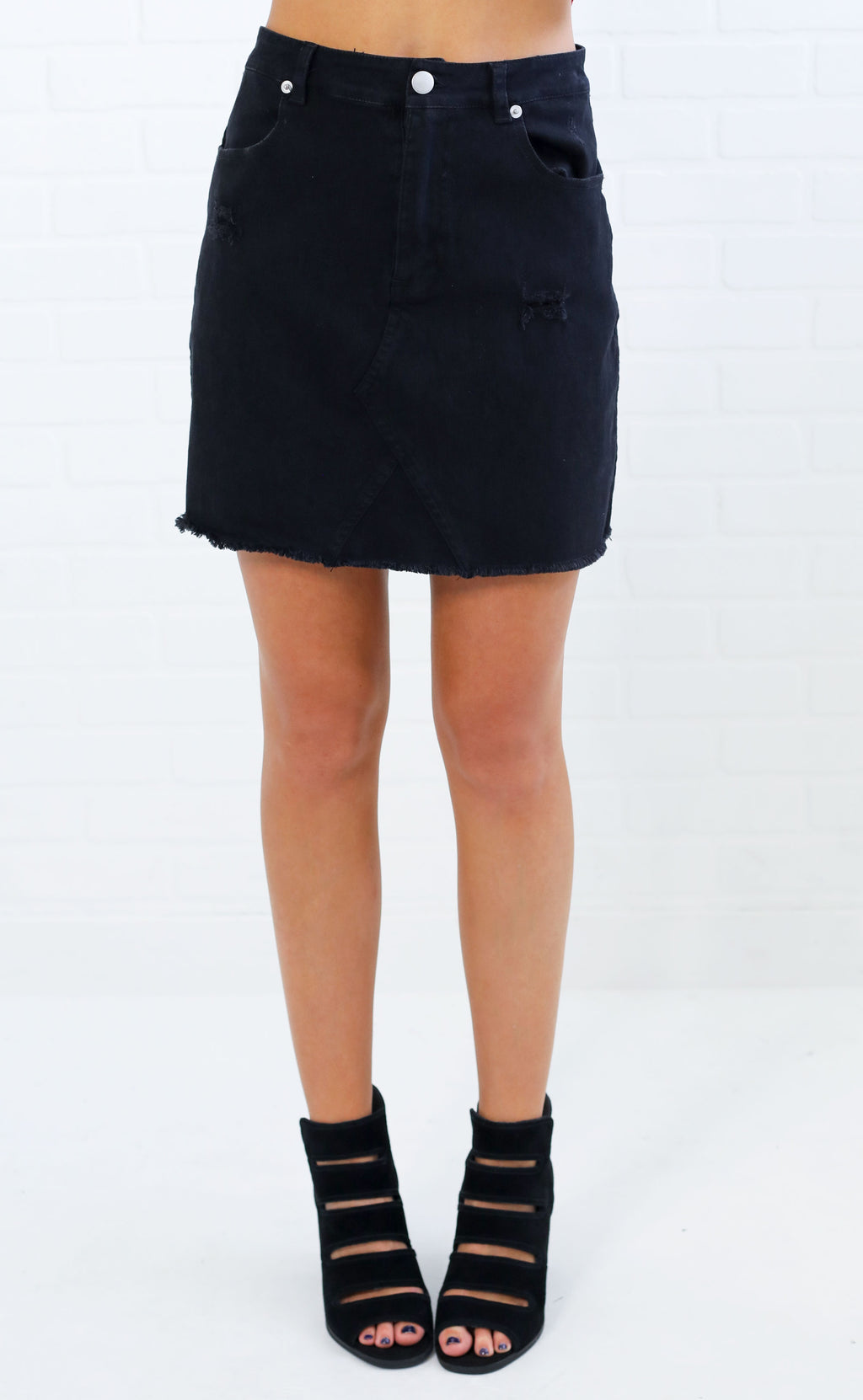 every day denim skirt - black