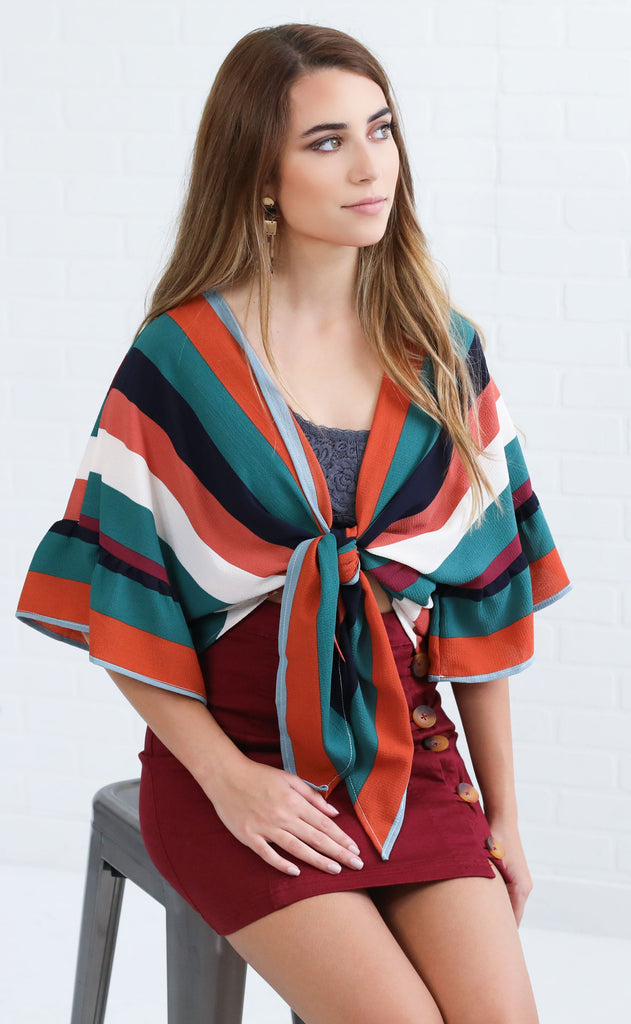 big shot striped top - teal