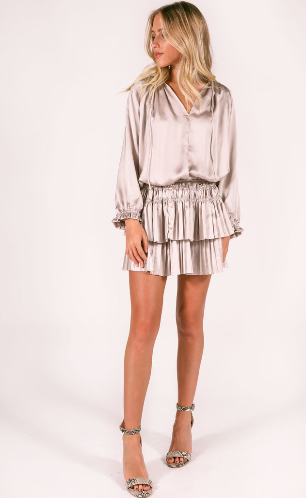 bishop + young: dom mini dress - silver