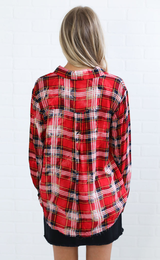 bleach babe plaid top - red