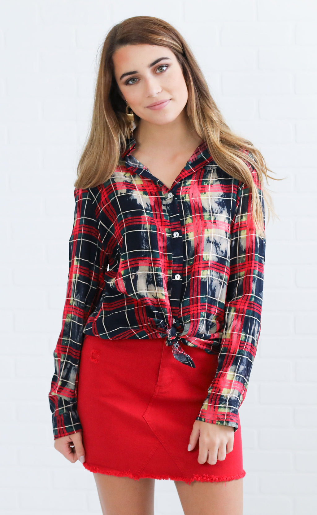 bleach babe plaid top - navy