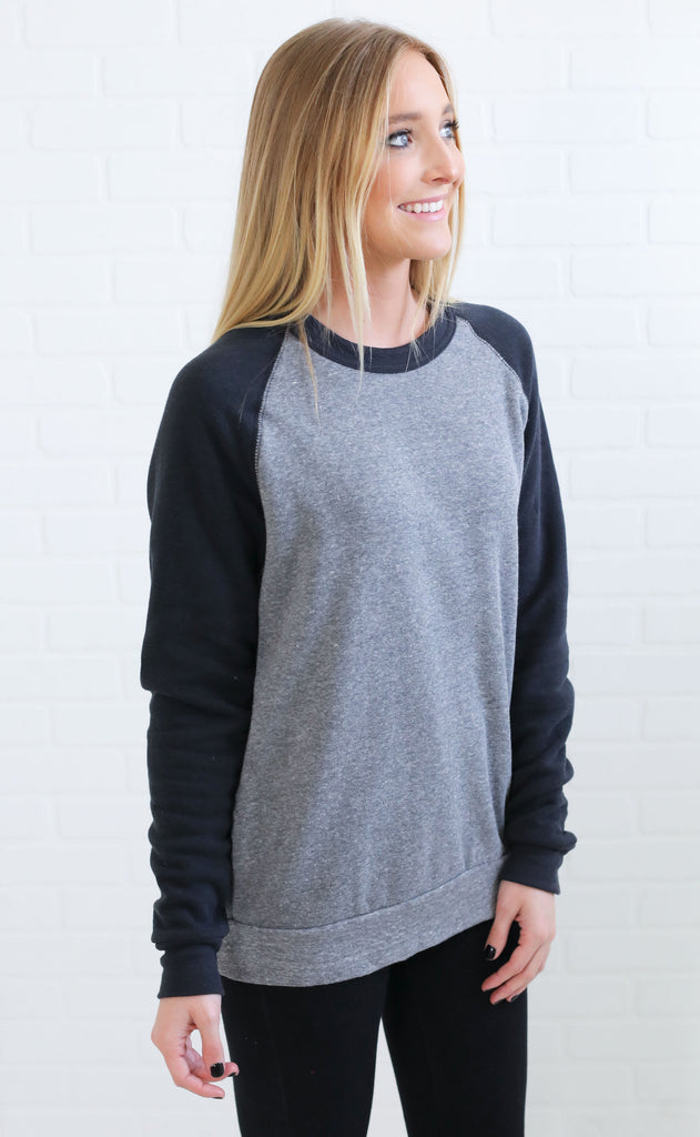 alternative: champ color block  eco-fleece sweatshirt - black/gray
