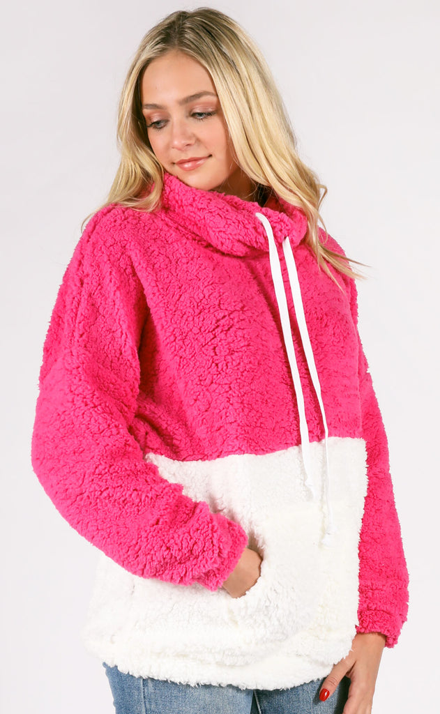 block to block knit pullover - pink