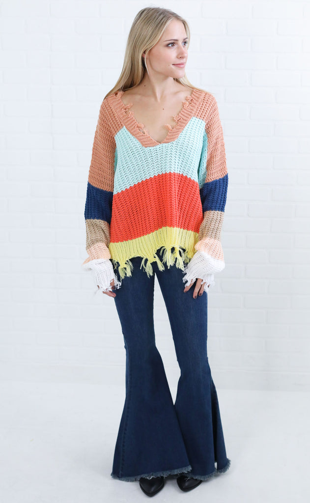 blocked in v-neck sweater - mint