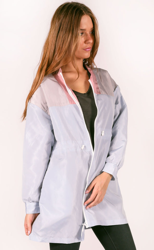 blocked in windbreaker jacket - blue multi