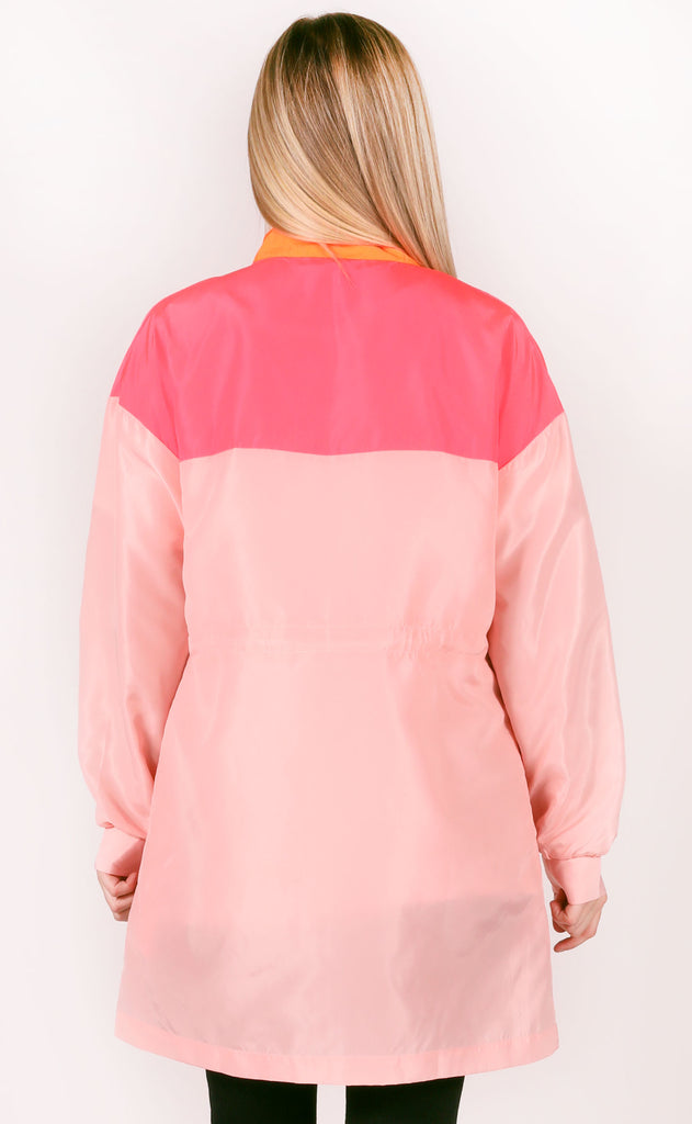 blocked in windbreaker jacket - coral multi
