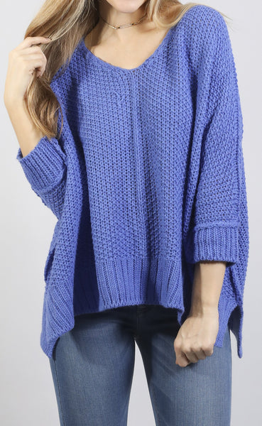 color crush knit sweater - royal blue
