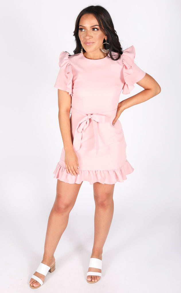 blushing beauty ruffle dress