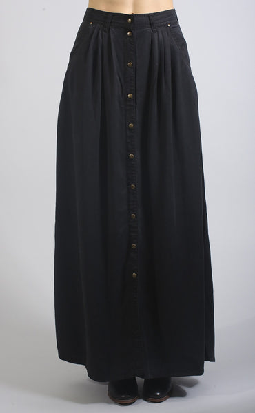 boho button up maxi skirt - black