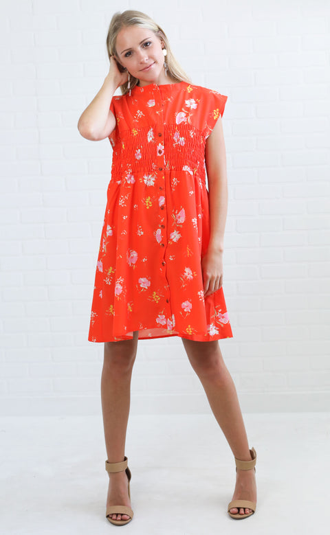 bold blooms floral dress