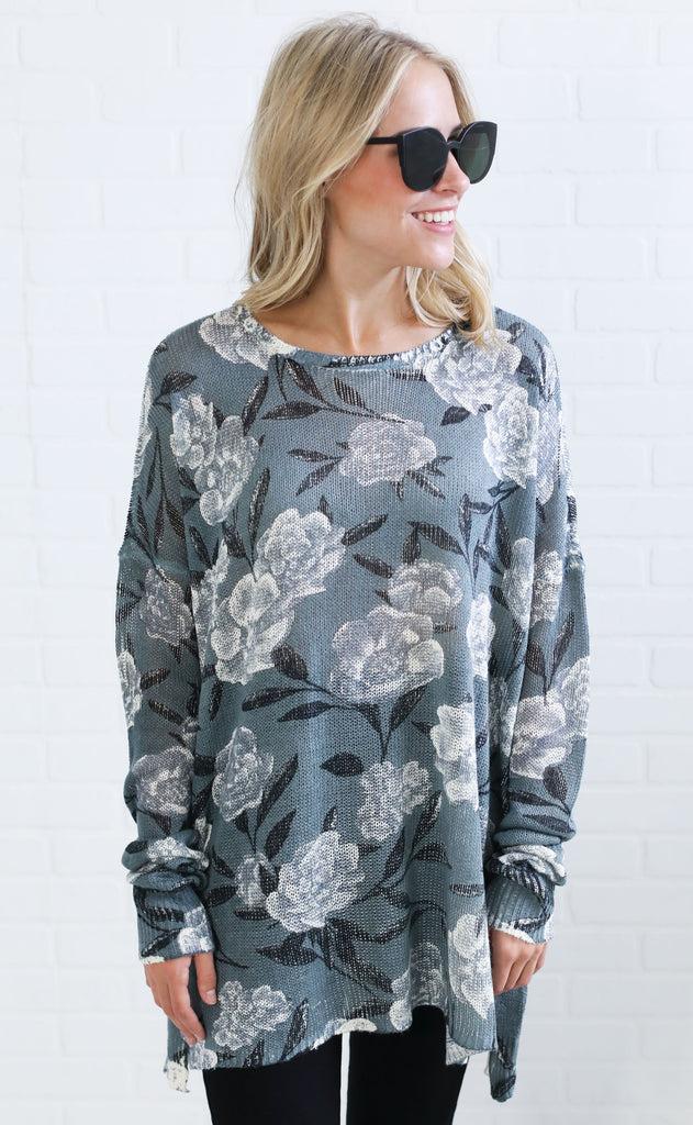 show me your mumu: bonfire sweater - frosted florals knit