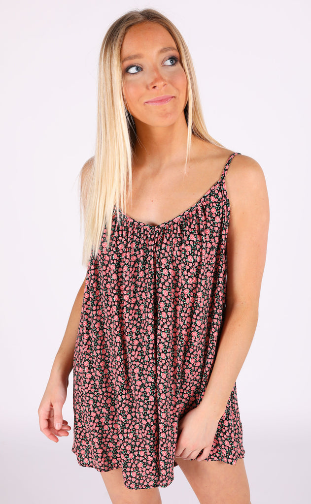 botanical printed romper - black