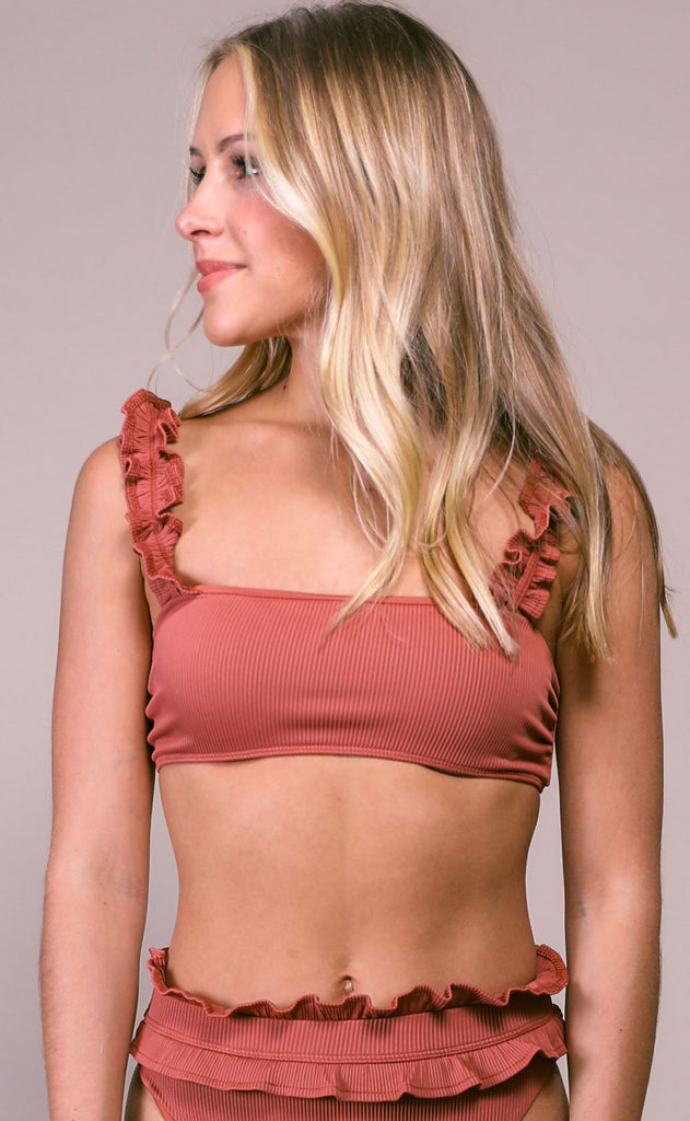 beach riot: madeline top - rust