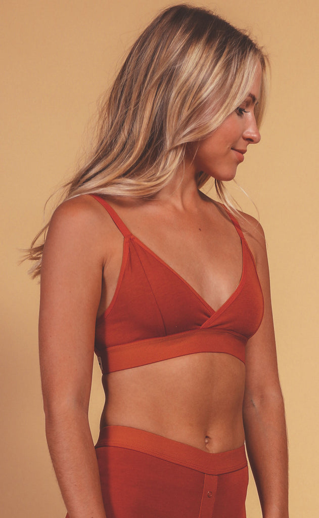 richer poorer: classic bralette - redwood