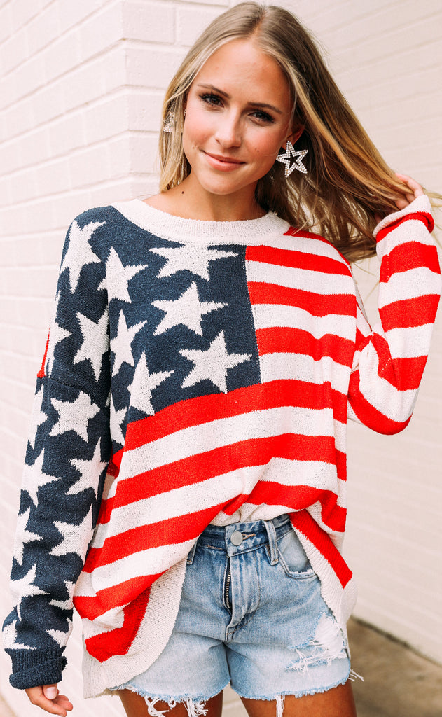 show me your mumu: bradley sweater - patriot knit