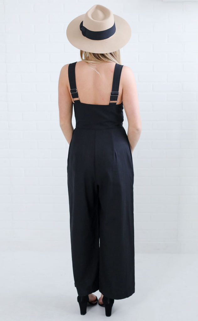 break free woven jumpsuit - black