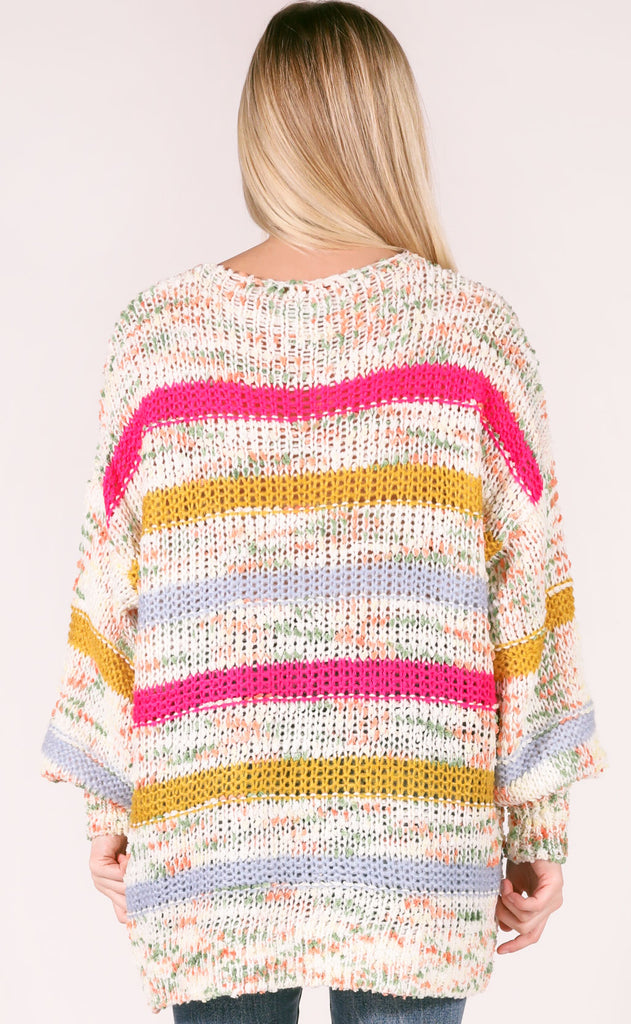 bring knit on striped sweater