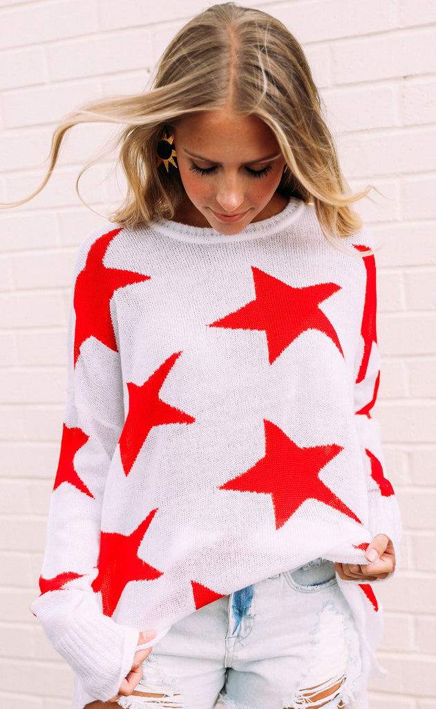 show me your mumu: bronson sweater - star tossed knit