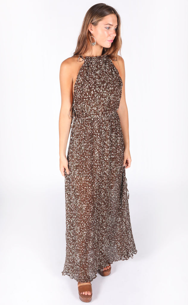 bronze beauty floral maxi dress