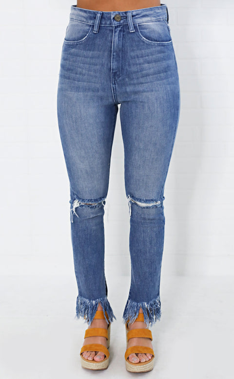 show me your mumu: brooklyn high waisted jeans - harbor