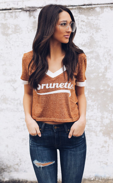 show me your mumu: kickball crop tee - brunette graphic