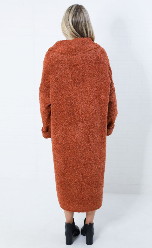 bryant park knit jacket - rust