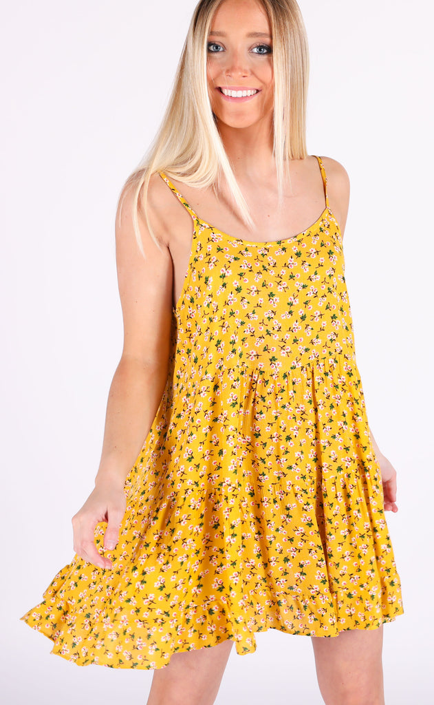 budding roses floral dress - yellow