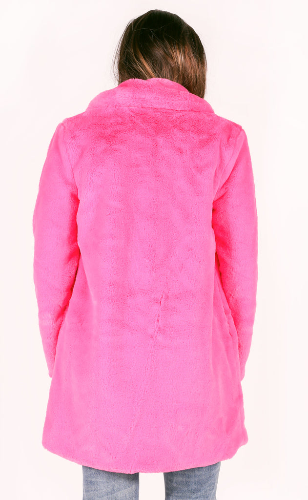 buddy love: diana fur jacket - hot pink