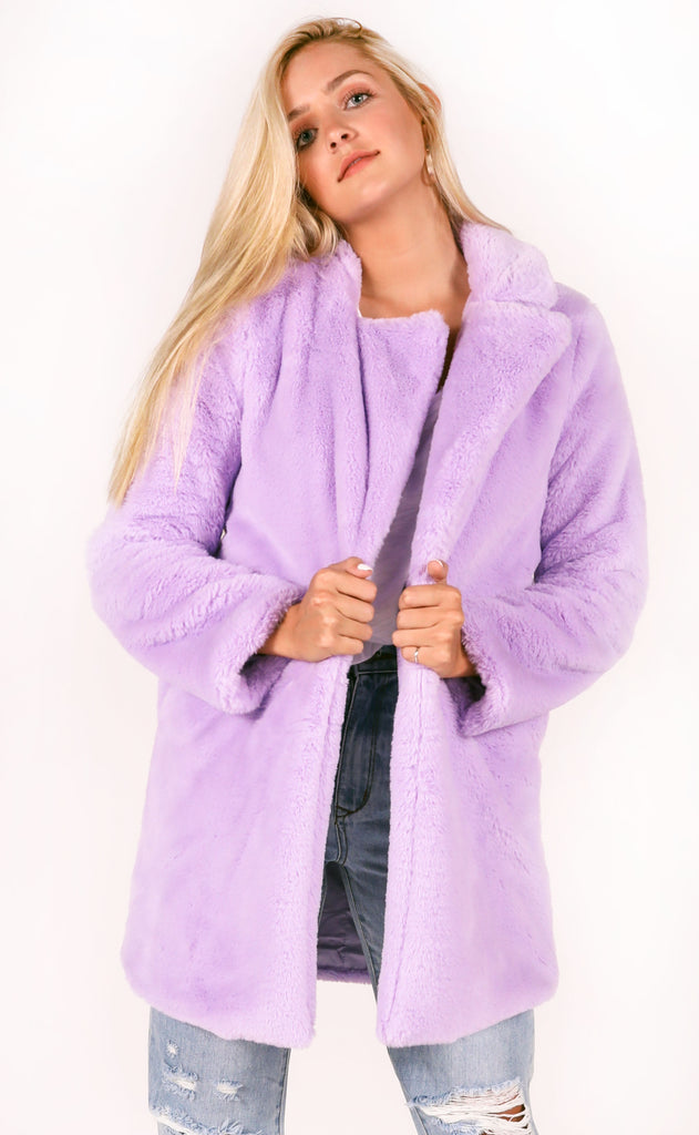buddy love: diana fur jacket - lilac