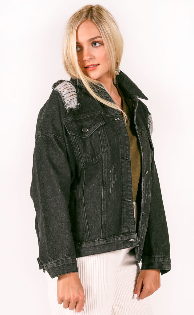 buddy love: heidi denim jacket - black